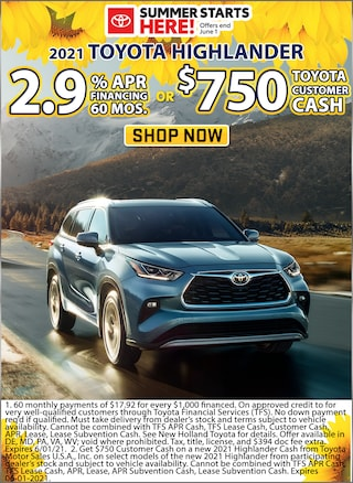 2.9% APR for 60 Months or $750 Toyota Customer Cash !