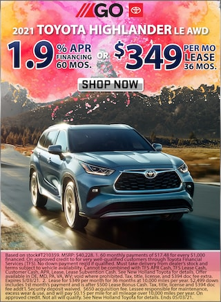 1.9% APR for 60 Months or Lease for $349 per month for 36 months!