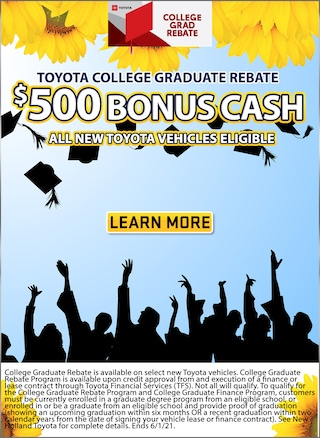 $500 Toyota College Graduate Rebate Program