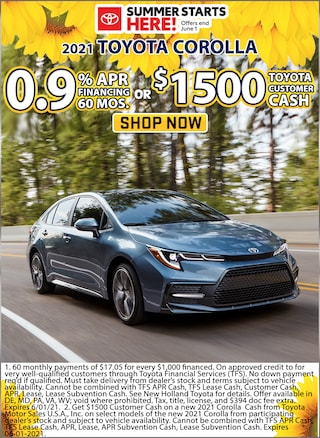 0.9% APR for 60 Months or Receive $1,500 Toyota Customer Cash!