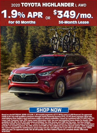 Get 1.9% APR for 60 Months OR Lease for $349 per Mo. for 36 Months!