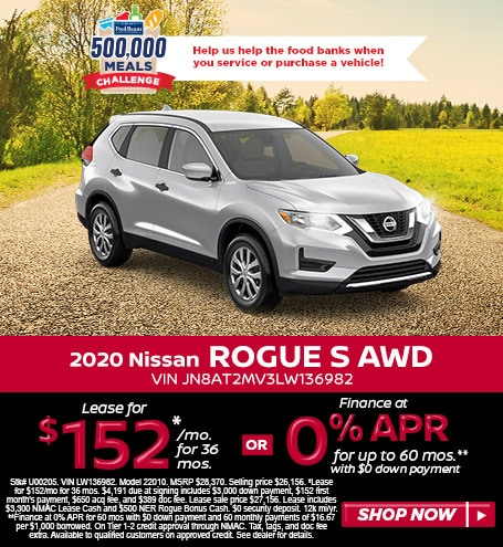 Lease a 2020 Nissan Rogue S for $152/mo for 36 mos w/$4,191 due at signing