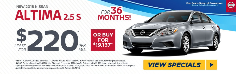 LEASE A NEW 2018 NISSAN ALTIMA FOR $220/MO AT FRED BEANS NISSAN OF  DOYLESTOWN