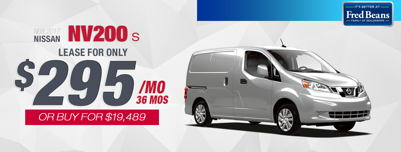 NEW 2017 NISSAN NV200   LEASE FOR $295/MO AT FRED BEANS NISSAN OF DOYLESTOWN