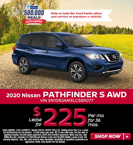 Lease a 2020 Pathfinder S for $225/mo for 36 mos w/ $4,264 due at signing