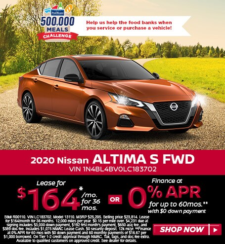 Lease a 2020 Nissan Altima S for $164/mo for 36 mos w/$4,203 due at signing