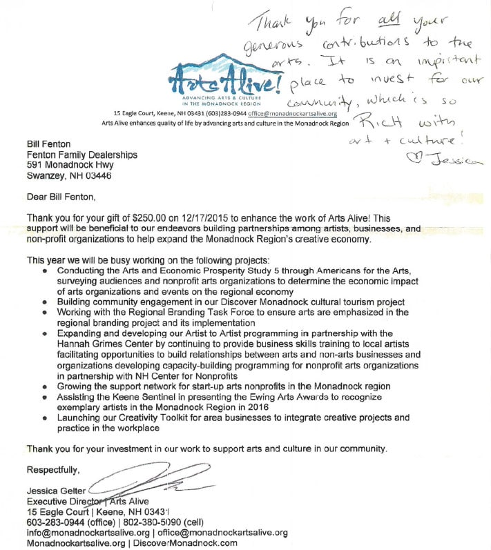 Thank You Letters From Our Community | Honda of Keene