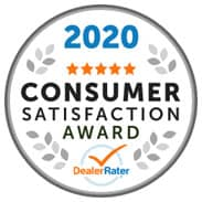 2020 Consumer Satisfaction Award from DealerRater