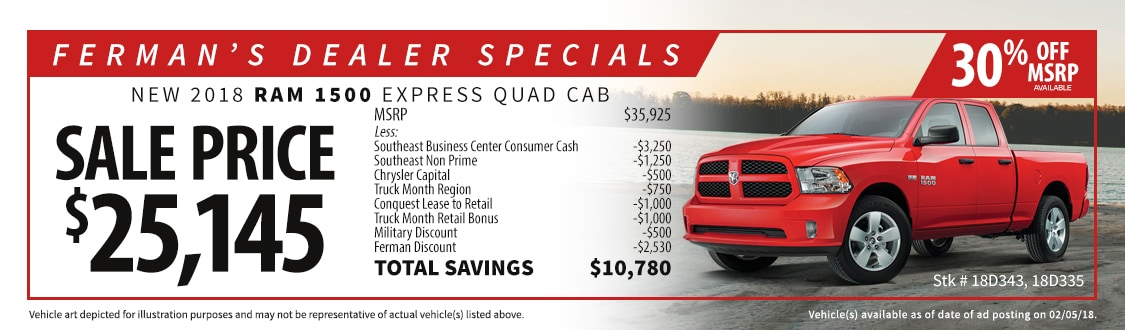 Managers Specials Ferman Chrysler Jeep Dodge RAM New Port Richey - Chrysler capital bonus cash