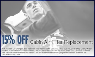 15% Off Cabin Air Filter Replacement