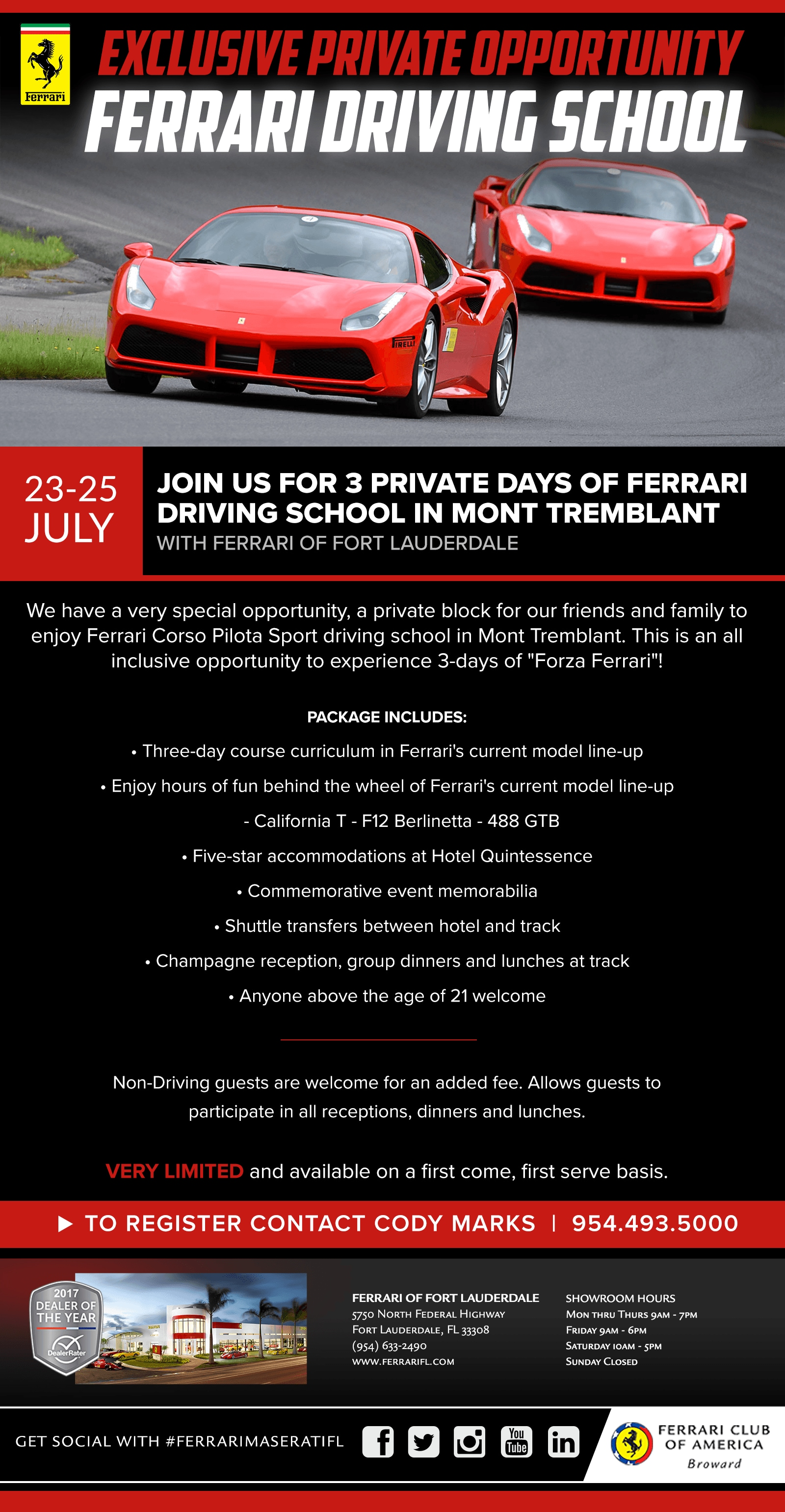 Ferrari Corso Pilota in Mt. Tremblant July 22-24
