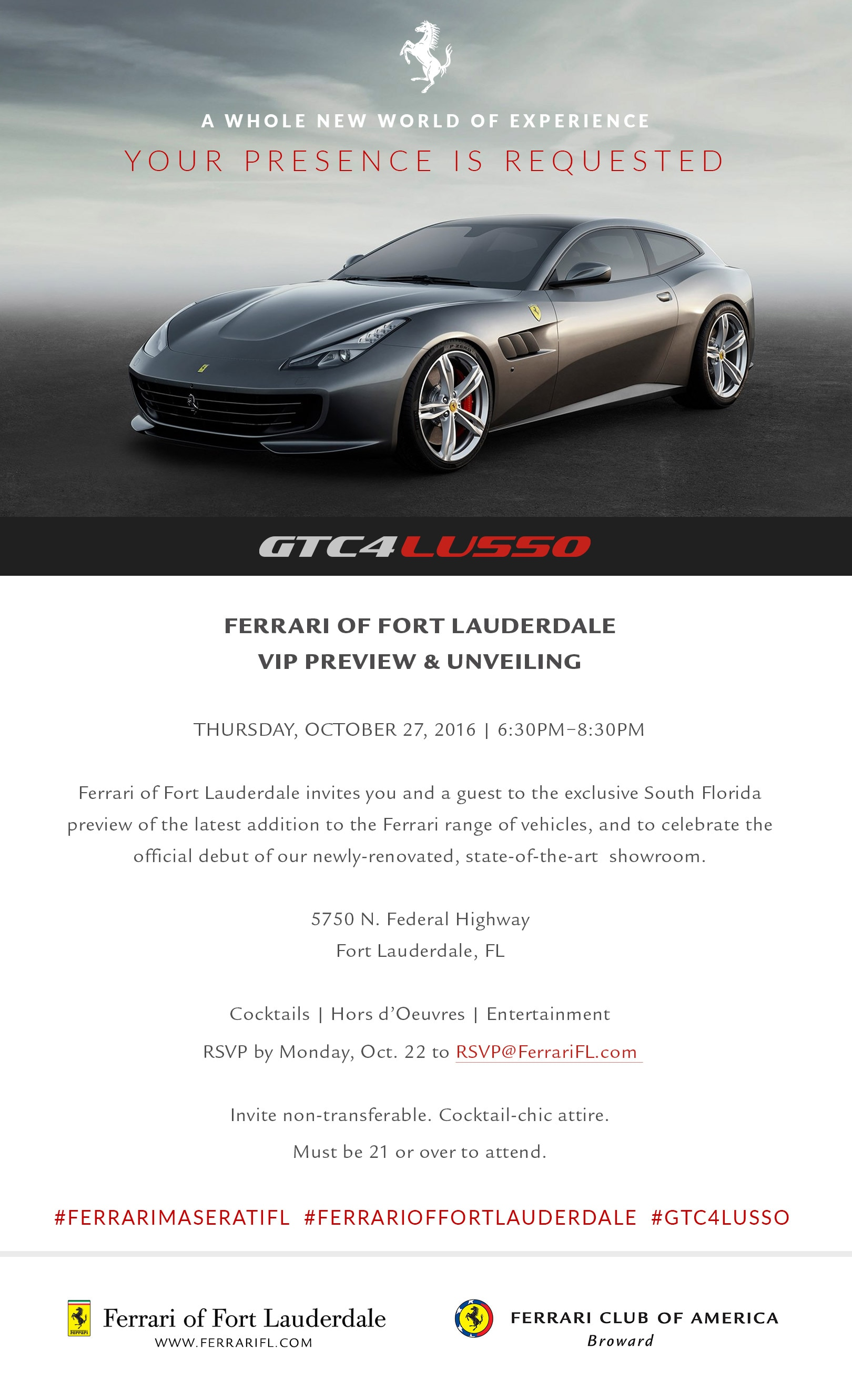 Private Unveiling of Ferrari GTC4Lusso at Ferrari of Fort Lauderdale