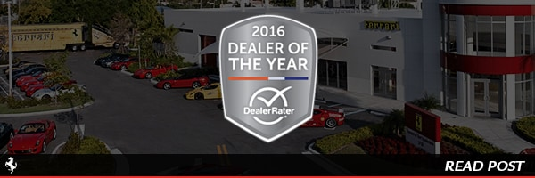 Ferrari of Fort Lauderdale named 2016 Dealer of the Year by DealerRater