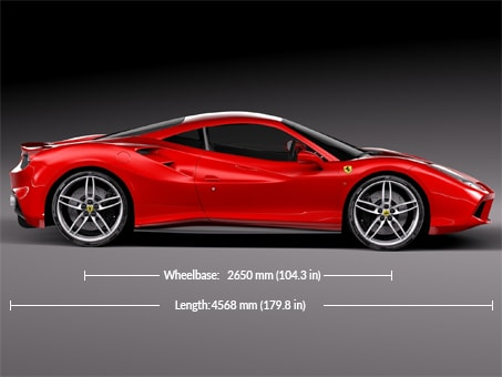Ferrari 488 GTB Dimensions and weight