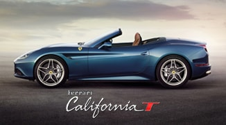 Blue Ferrari California T side angle