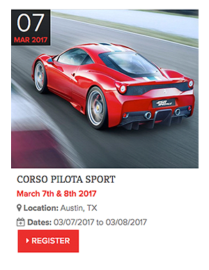 Ferrari Corso Pilota Driving School in Texas