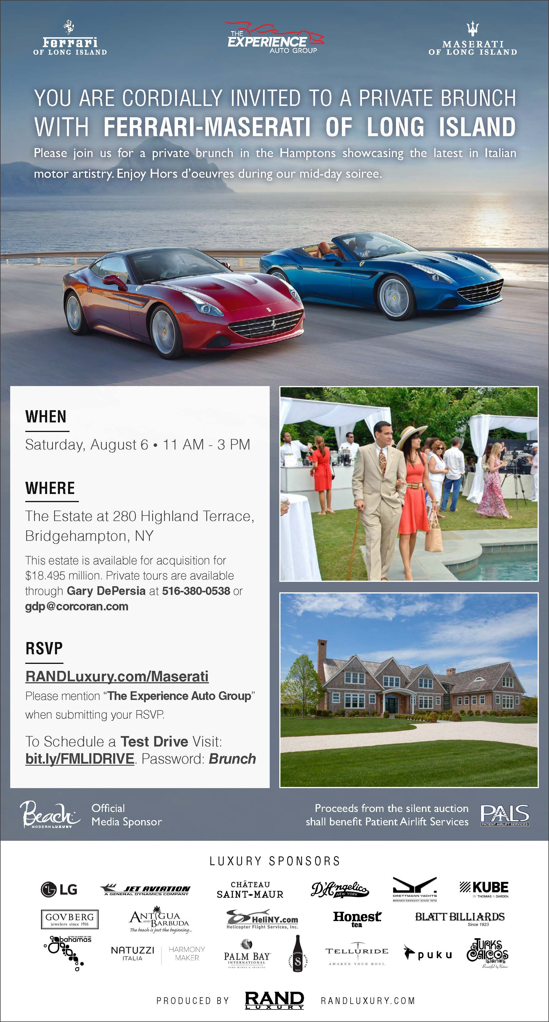 YOU ARE CORDIALLY INVITED TO A PRIVATE BRUNCH WITH FERRARI MASERATI OF LONG  ISLAND