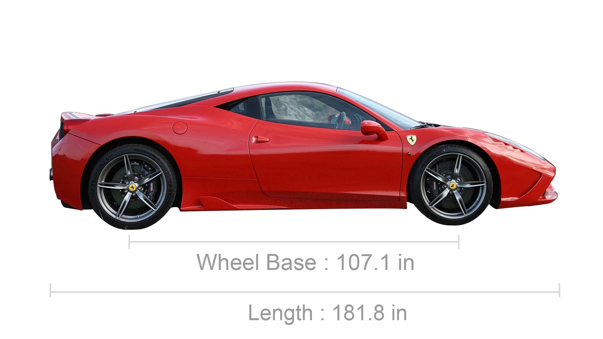 Ferrari 458 dimensions