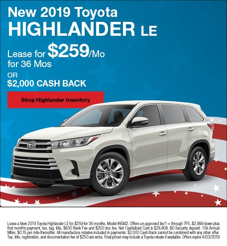 May 2019 Toyota Highlander Lease