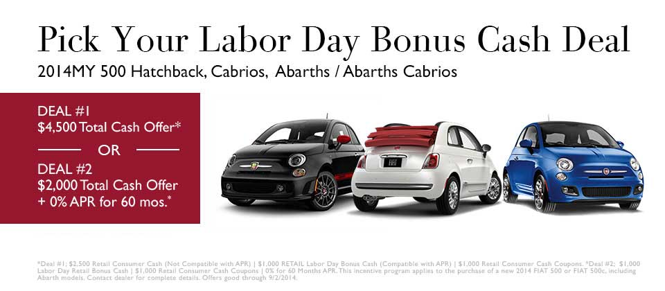 FIAT Labor Day Special Offers Deals - Fiat special offers