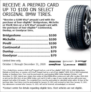 Receive a Prepaid Card up to $100 on select Original BMW Tires