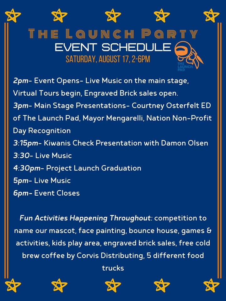 The Launch Pad Teen Center Launch Party Schedule