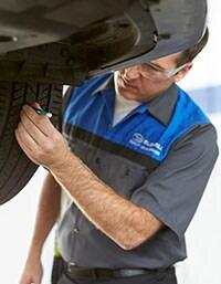 Subaru Technicians at Findlay Subaru Prescott check tire tread depth, to verify tire life.