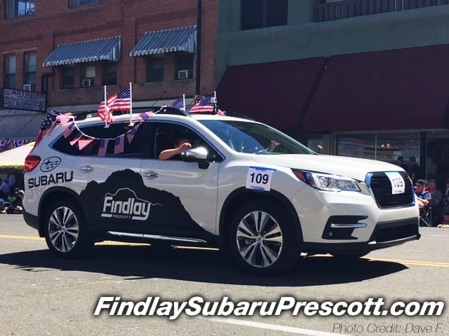 Findlay Subaru Prescott's 2019 Subaru Ascent Touring (Crystal White Pearl) in 4th of July Decorations - Photo credit: Dave F