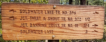Trail Sign near Goldwater Lake