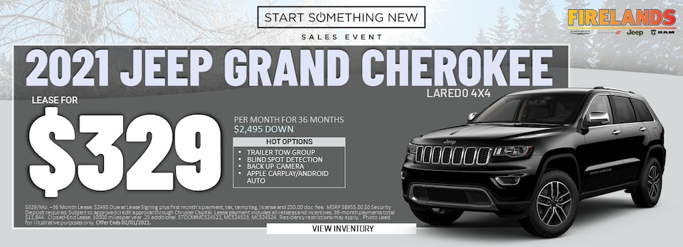 2021 Jeep Grand Cherokee Laredo 4x4 - Lease for $329/month!