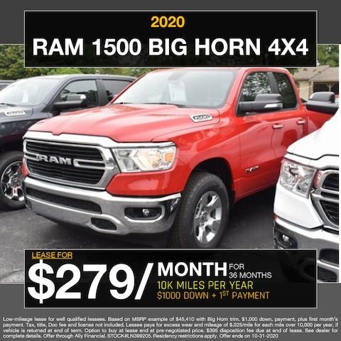 2020 Ram 1500 Big Horn 4x4 - Lease for $279/month!
