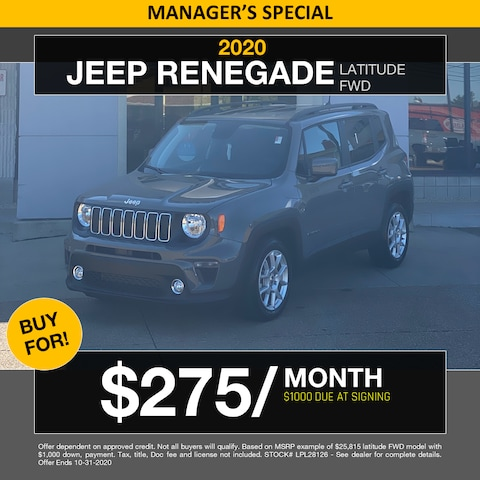 2020 Jeep Renegade Latitude - Buy For 275/Month