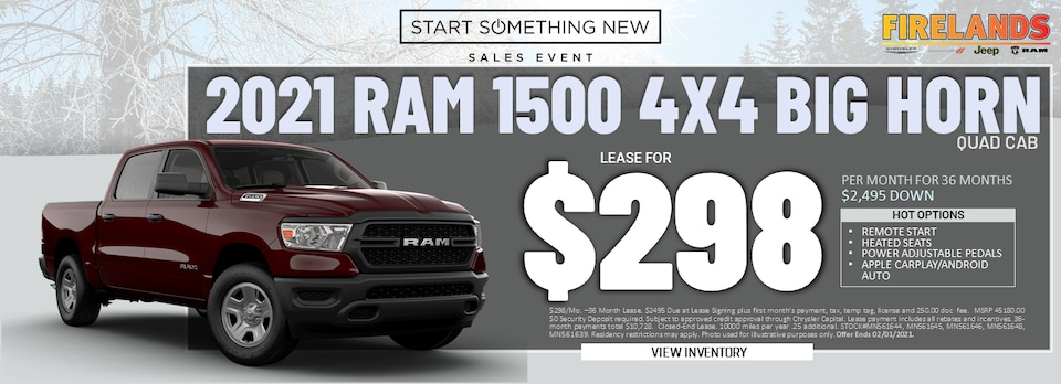 2021 Ram 1500 Quad Cab 4x4 - Lease for $298/month!