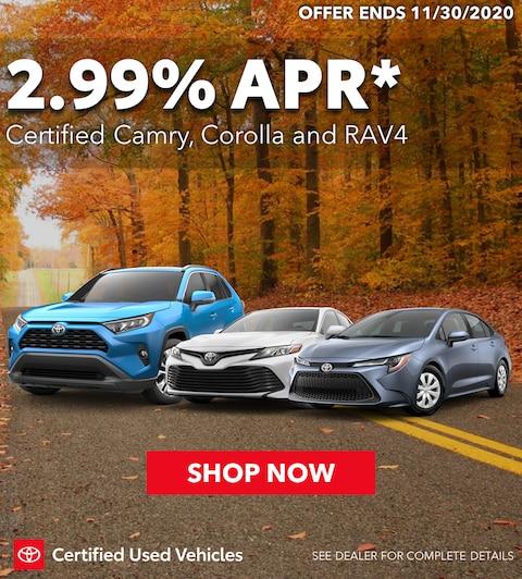 2.99% APR on TCUV Camry, Corolla and Rav4!