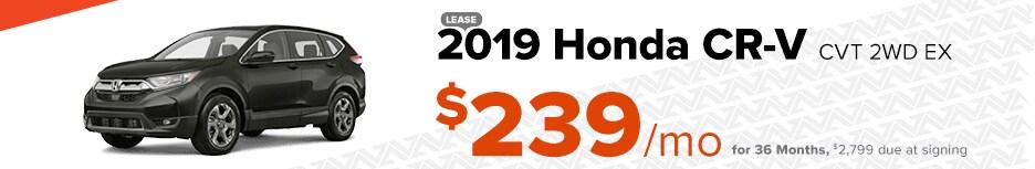 2019 Honda CR-V CVT 2WD EX   Lease $239/mo for 36 months
