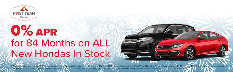 0% APR for 84 Months on ALL New Hondas In Stock