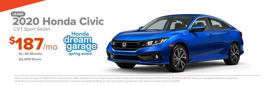 2020 Honda Civic CVT Sport Sedan Lease $187/mo for 36 months $2,000 Down
