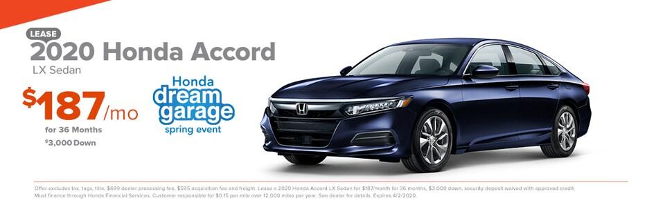 2020 Honda Accord LX Sedan  Lease $187/mo for 36 months $3,000 Down