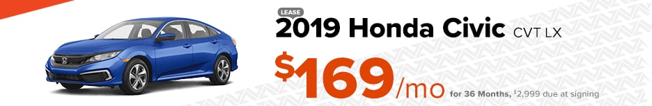 2019 Honda Civic CVT LX  Lease $169/mo for 36 months