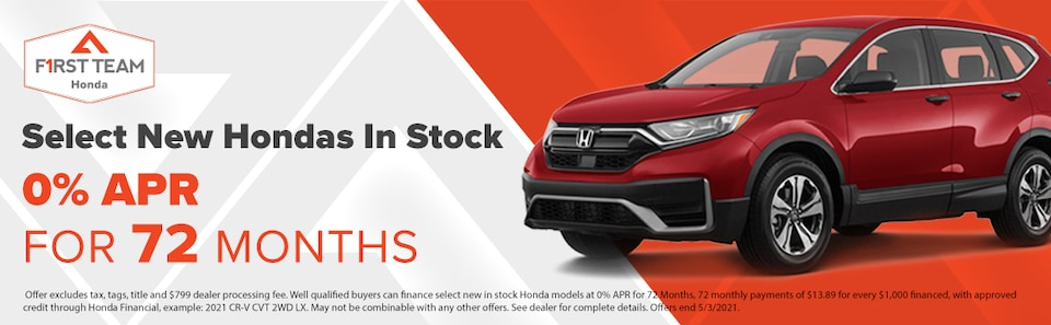 0% APR for 72 Months on Select New Hondas In Stock