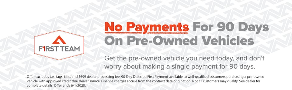 No Payments for 90 Days on Pre-Owned