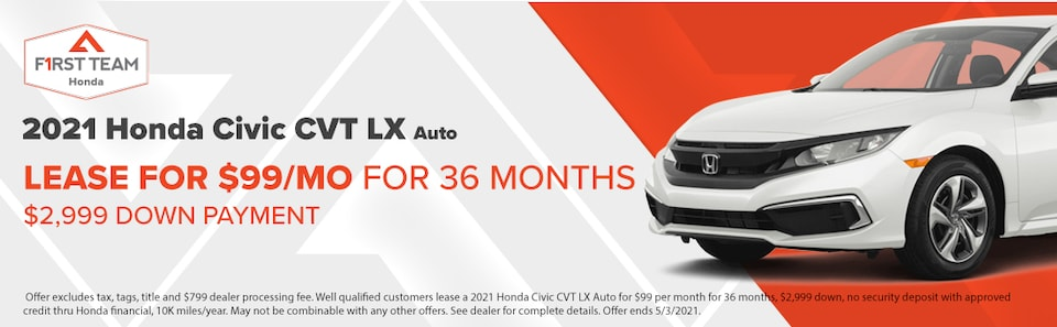 2021 Honda Civic CVT LX Auto Lease $99/Month for 36 Mos $2,999 Down Payment
