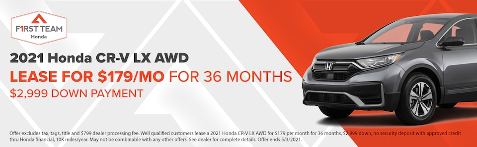 2021 Honda CR-V LX AWD Lease for $179/Month for 36 Months  $2,999 Down Pmt