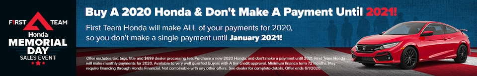 Buy a 2020 Honda & Don't Make A Payment Until 2021!