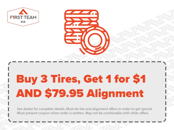Buy 3 Tires, Get 1 for $1 AND $79.95 Alignment