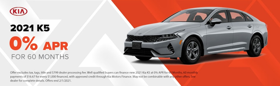 2021 K5  0% APR for 60 Months