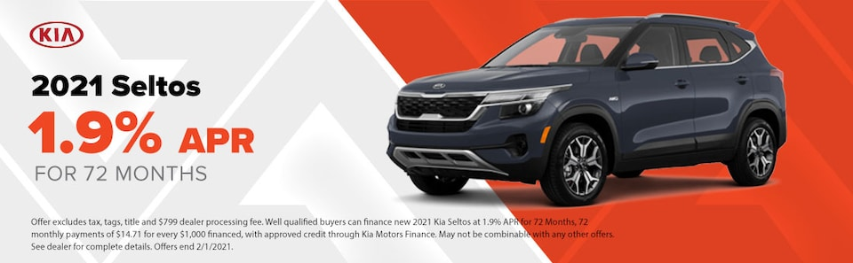 2021 Seltos  1.9% APR for 72 Months