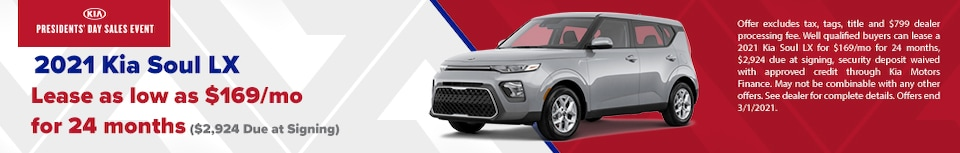 2021 Kia Soul LX Lease$169/mo for 24 months  $2,924 Due at Signing