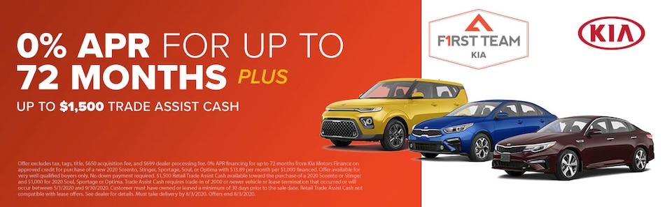 0% APR for up to 72 months PLUS Up To $1,500 Trade Assist Cash