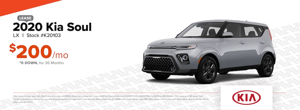 2020 Kia Soul LX Lease: $0 DOWN, $200/mo for 36 months